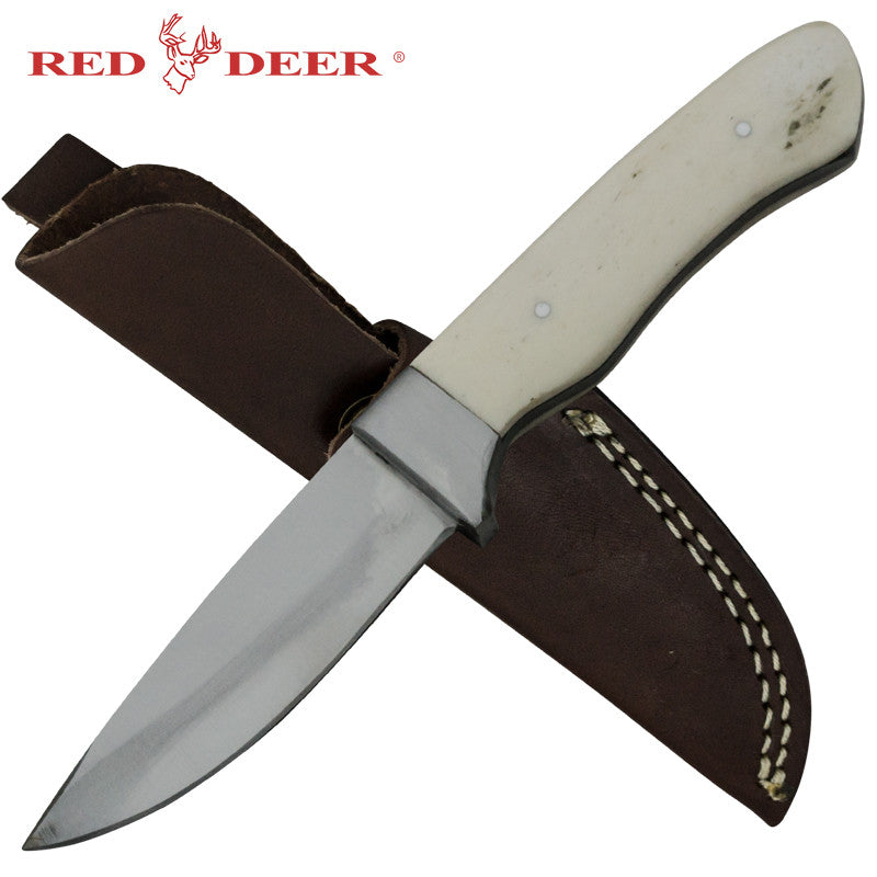 Red Deer Skinner Full Tang Animal Bone Handle 440 Stainless Steel Genuine Leather Sheath