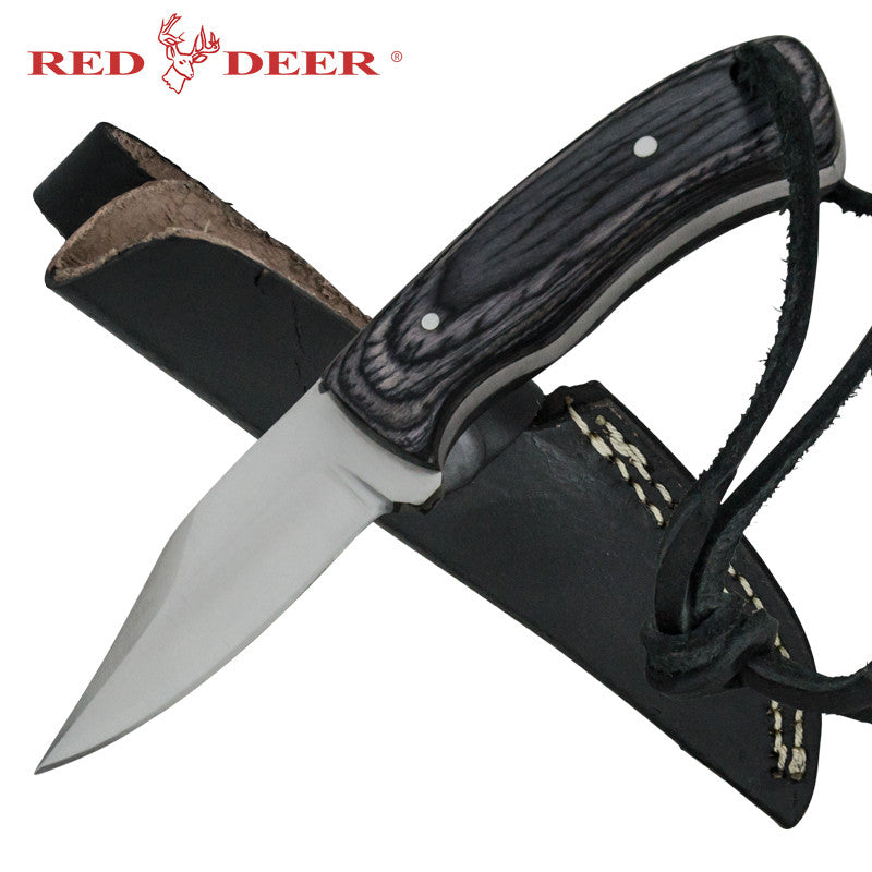 Red Deer Skinner Full Tang Pakka Wood Handle 440 Stainless Steel Genuine Leather Sheath, , Panther Trading Company- Panther Wholesale