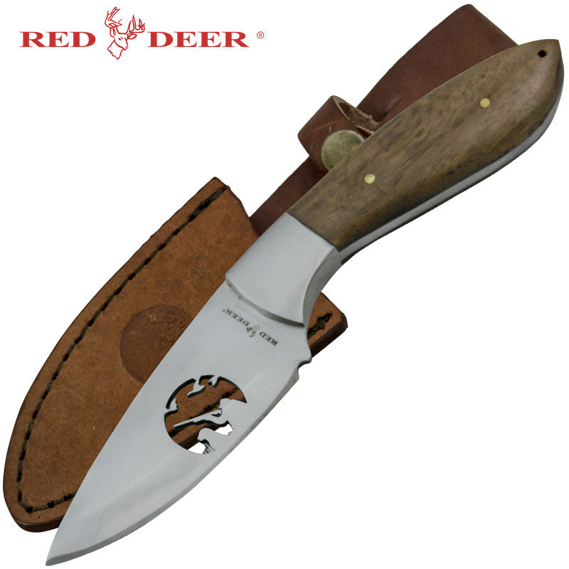 Red Deer Steel Cut Hunting Scene Full Tang Hunting Knife, , Panther Trading Company- Panther Wholesale