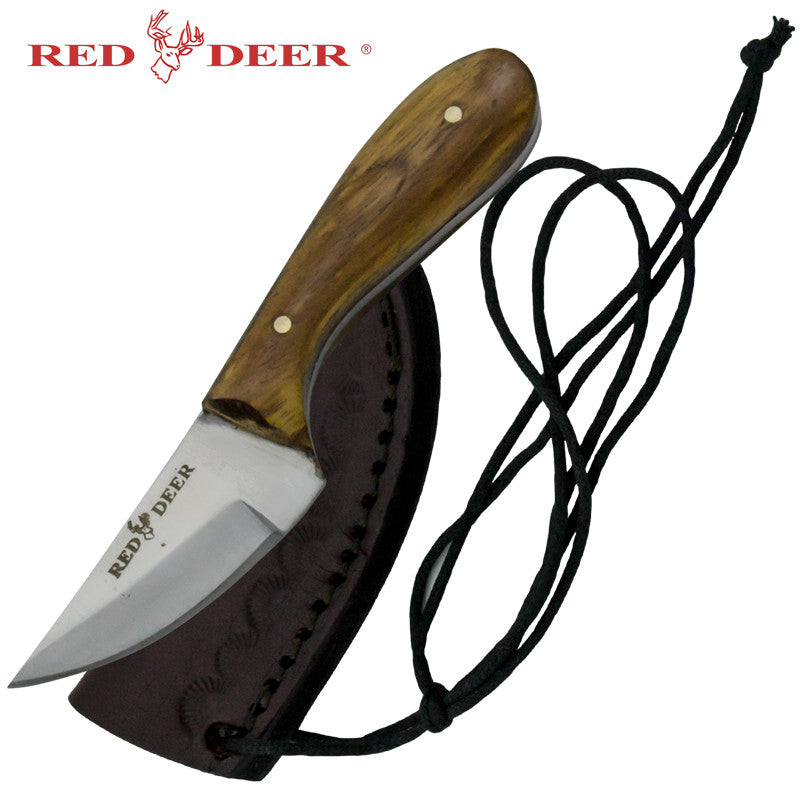 Red Deer Washington Patch Knife with Sun Design Leather Sheath