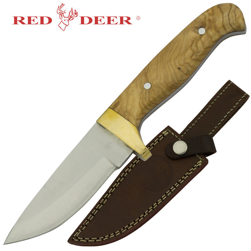 Red Deer Wooden Handle Hunting Knife, , Panther Trading Company- Panther Wholesale