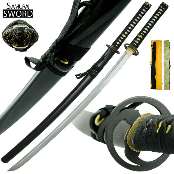 Handmade Full Tang Katana Sword with Scabbard and Display Box, , Panther Trading Company- Panther Wholesale