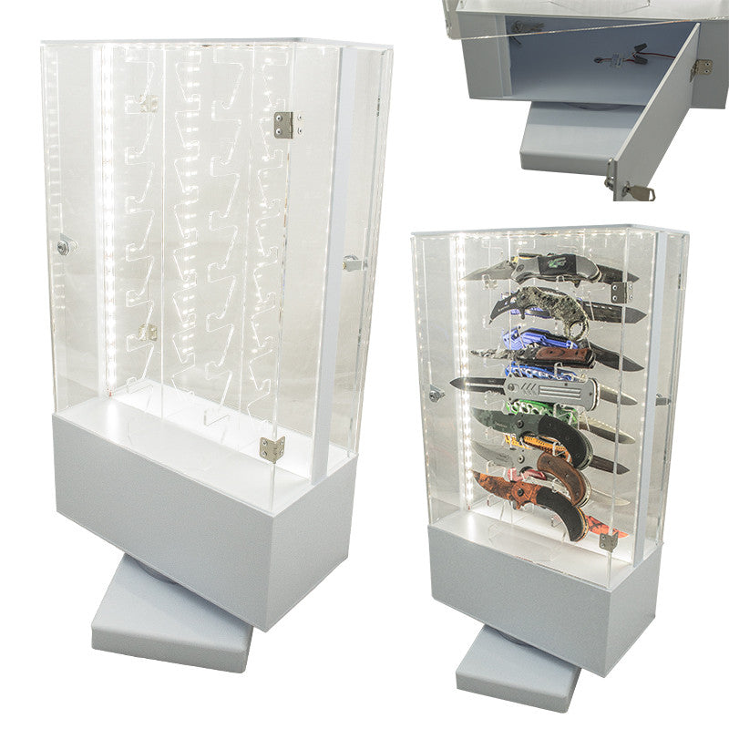 Revolving Light-Up 16 Knife Display Case, , Panther Trading Company- Panther Wholesale