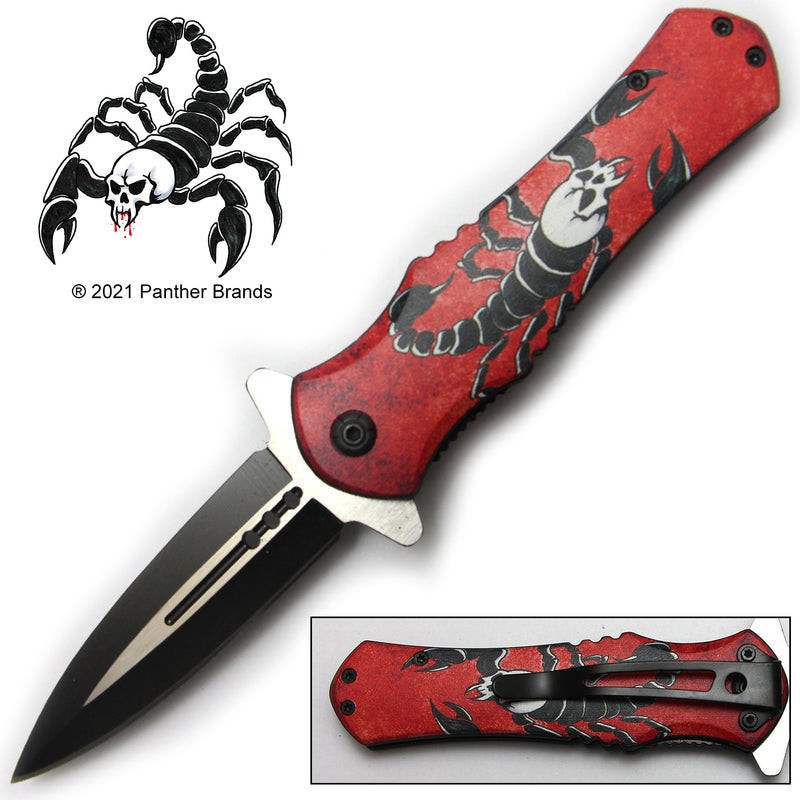 Tiger-USA Spring Assisted Knife - Red Scorpion