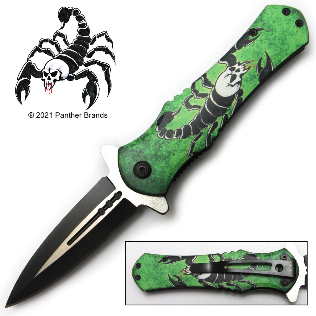 Tiger-USA Spring Assisted Knife - Green Scorpion
