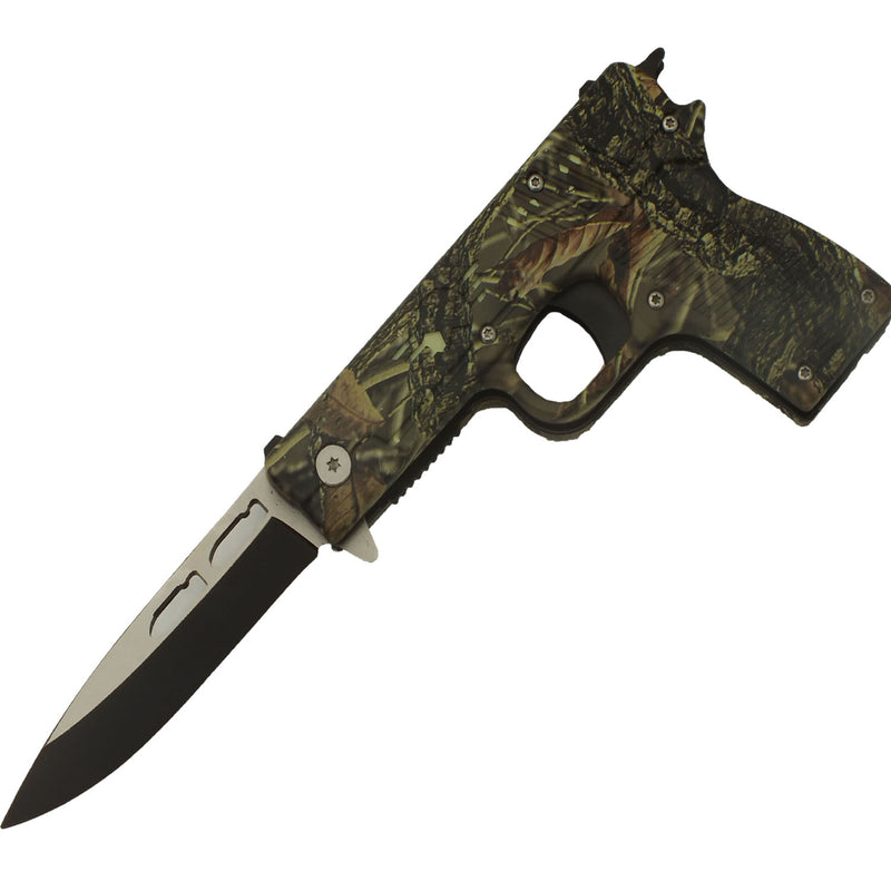 Armed Forces Jungle Camo Spring Assisted Pistol Knife with Sheath
