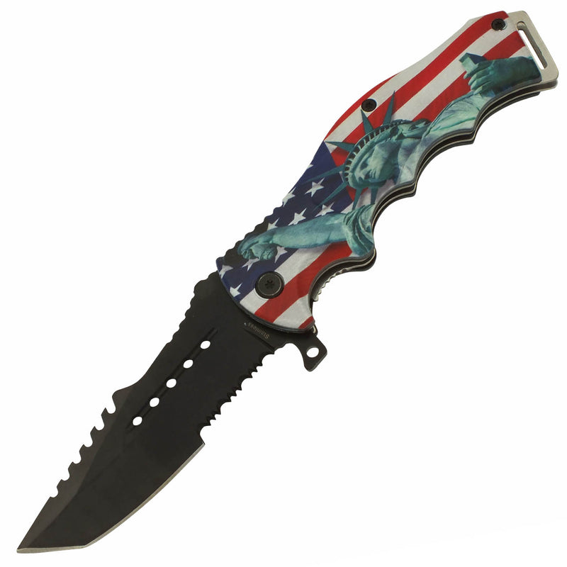 American Pride Statue of Liberty Spring Assisted Folding Pocket Tanto Knife