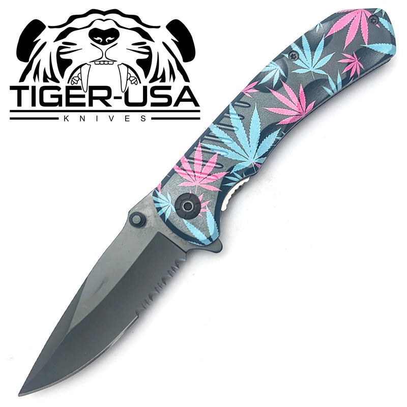 Tiger-USA Spring Assisted Knife - Multicolored Mary J