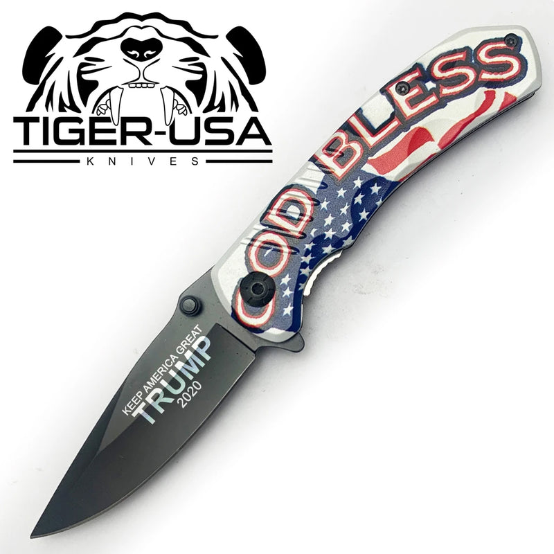 Tiger-USA Spring Assisted Knife - God Bless USA TRUMP