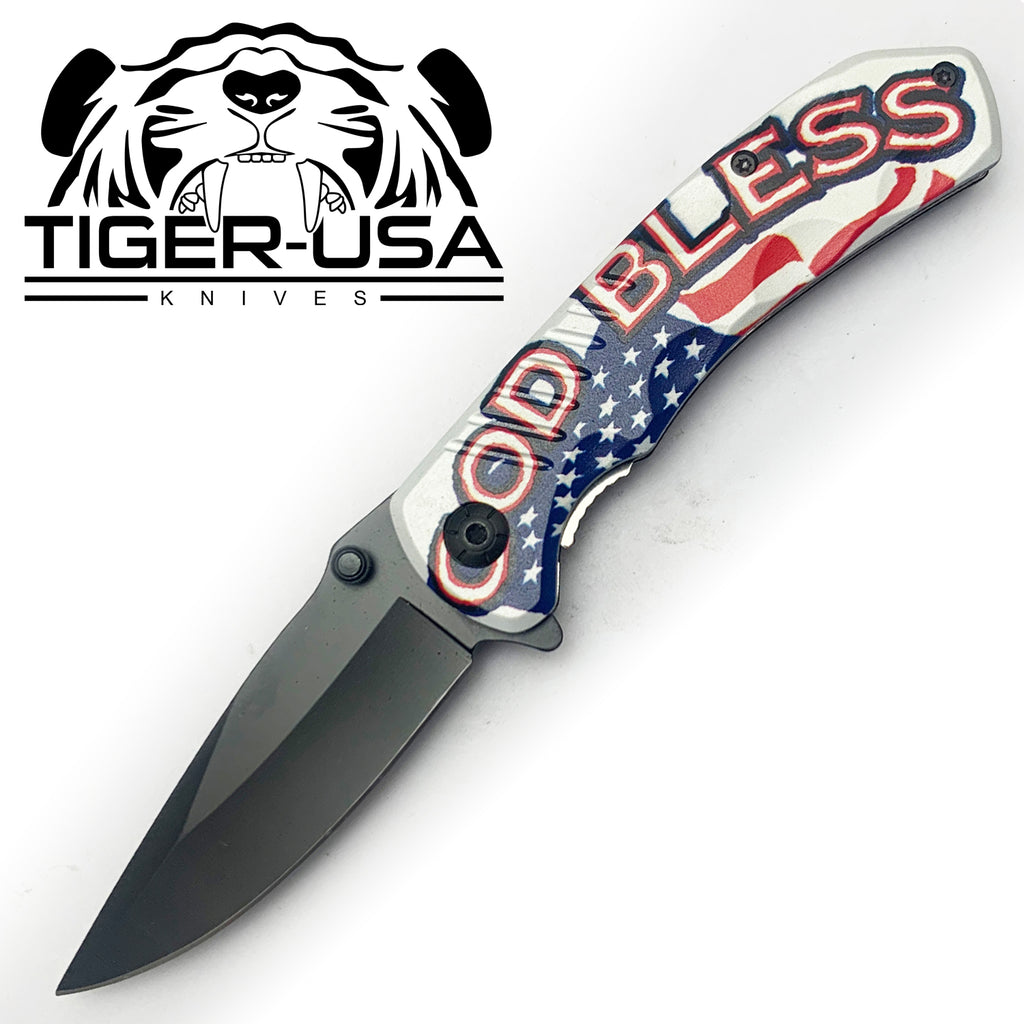 Tiger-USA Spring Assisted Knife - God Bless USA