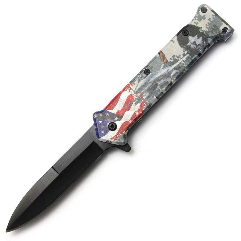 Tiger-USA Spring Assisted Knife - American Fighter Jet Joker