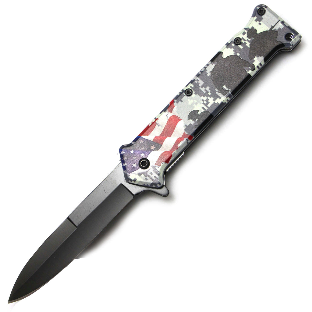 Tiger-USA Spring Assisted Knife - US Flag White Digi Camo Soldiers