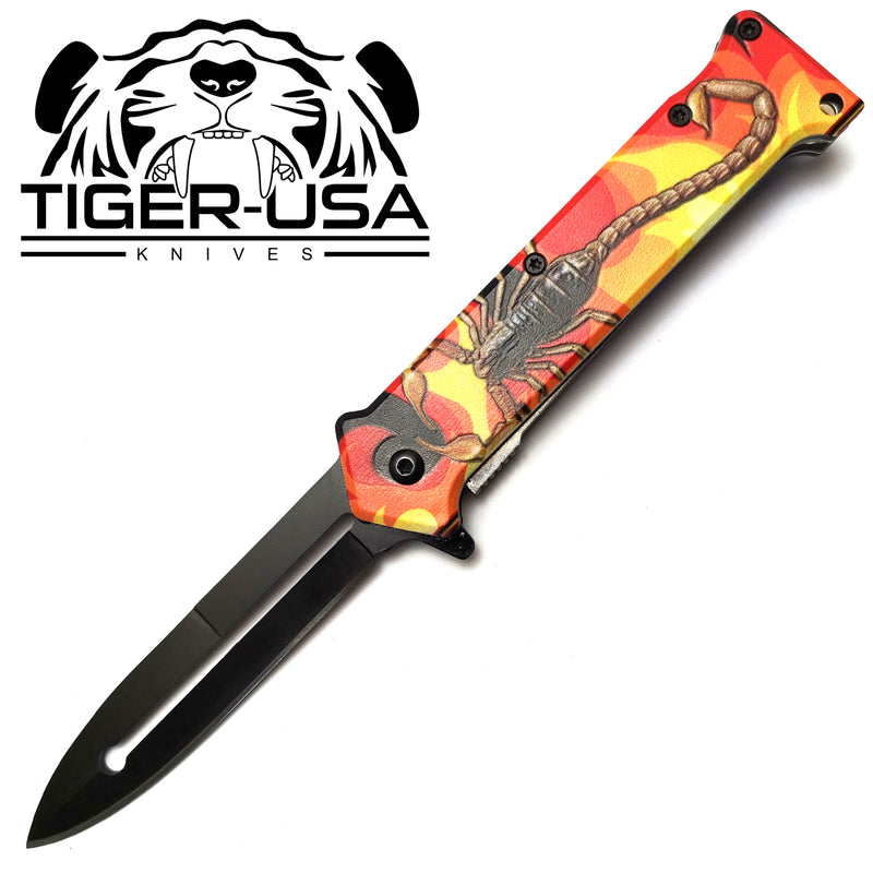 Tiger-USA Spring Assisted Knife - Fire Scorpion