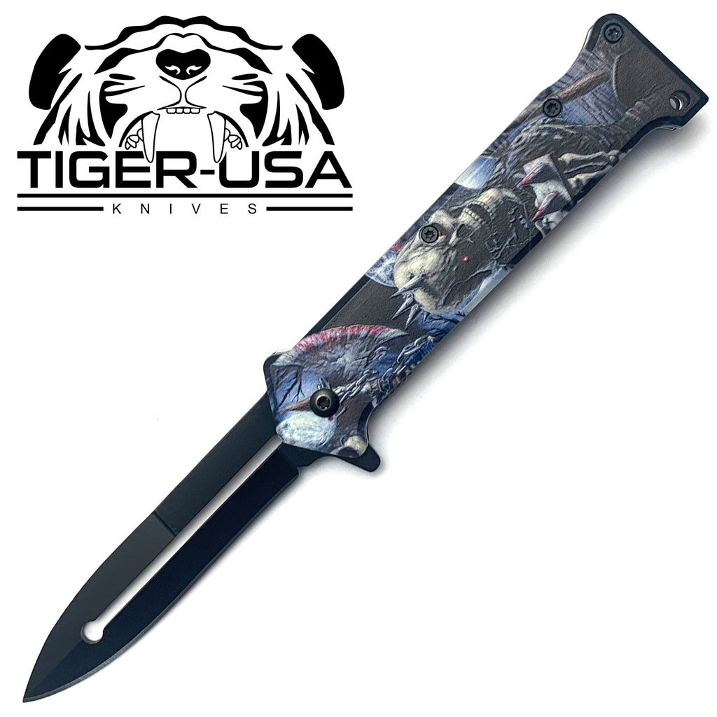 Tiger-USA Spring Assisted Knife - Skull Punk Joker