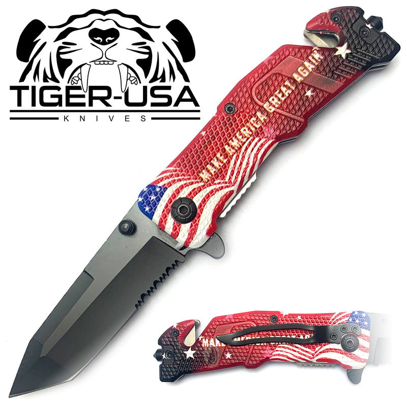 Tiger-USA Spring Assisted Knife - MAGA Tanto Serrated