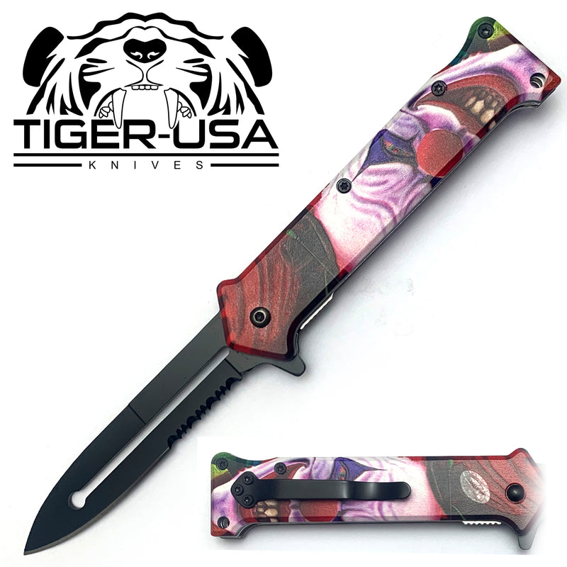 Tiger-USA Spring Assisted Knife - Death Clown Joker 3