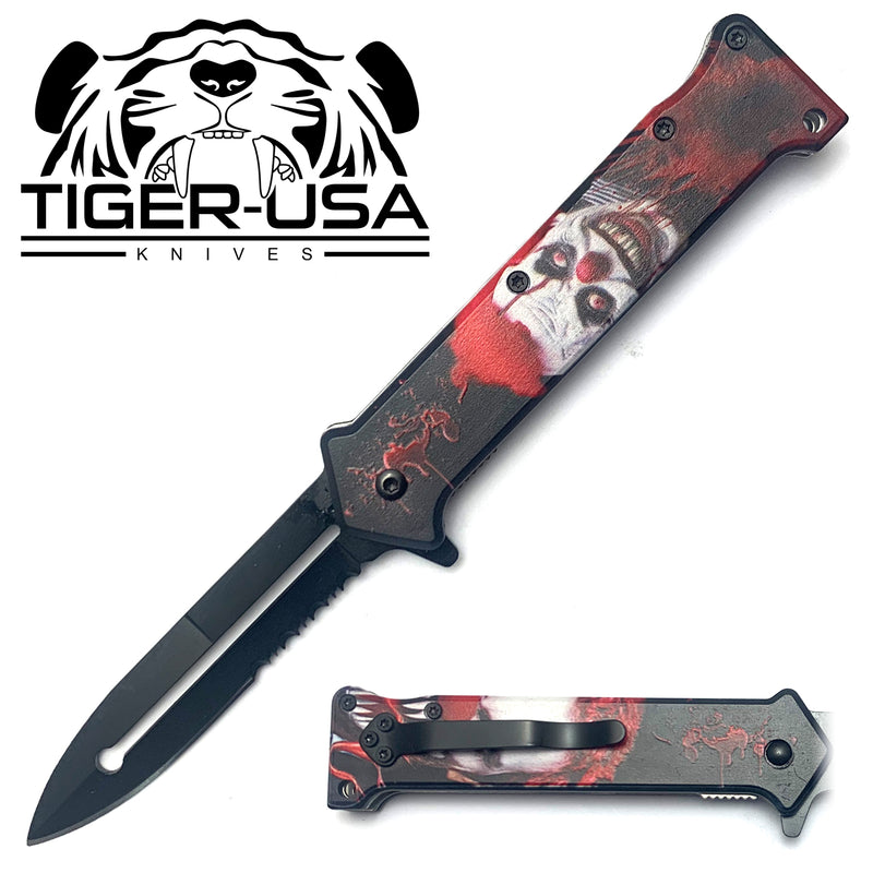 Tiger-USA Spring Assisted Knife - Death Clown Joker 4