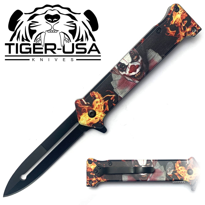 Tiger-USA Spring Assisted Knife - Death Clown Joker 7