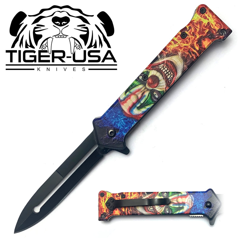 Tiger-USA Spring Assisted Knife - Death Clown Joker 8