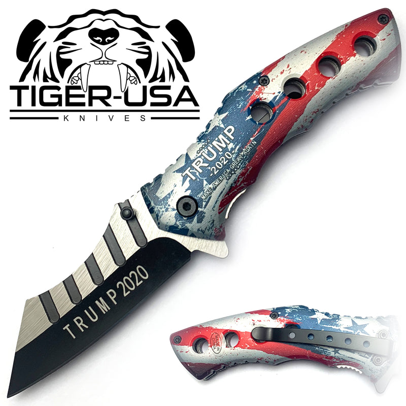 Tiger-USA Spring Assisted Combat Knife - America Trump 2020