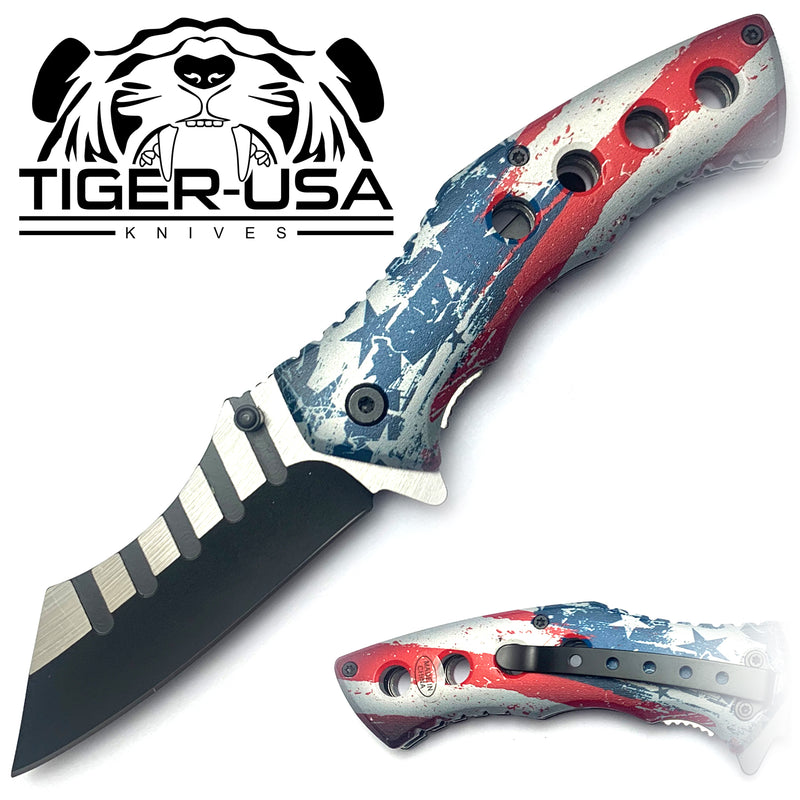 Tiger-USA Spring Assisted Combat Knife - America
