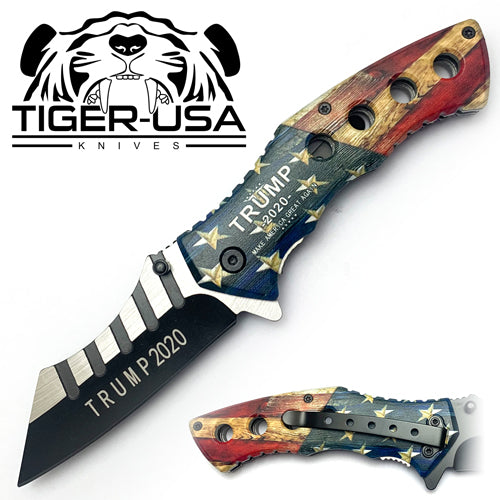 Tiger-USA Spring Assisted Combat Knife - American Flag Trump 2020 II