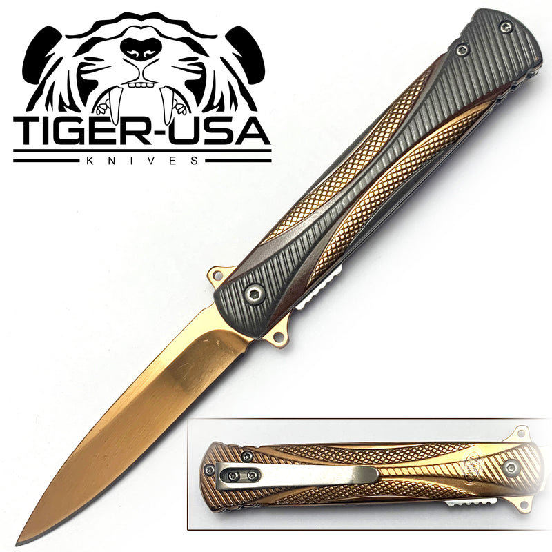 Tiger-USA Spring Assisted Knife - Fiber Gold