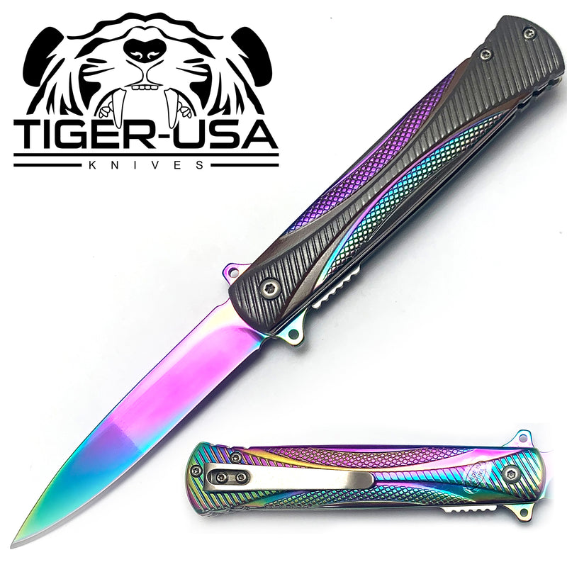 Tiger-USA Spring Assisted Knife - Fiber Rainbow