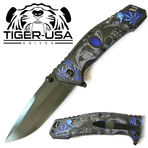 Tiger-USA Spring Assisted Knife - Skull Blue