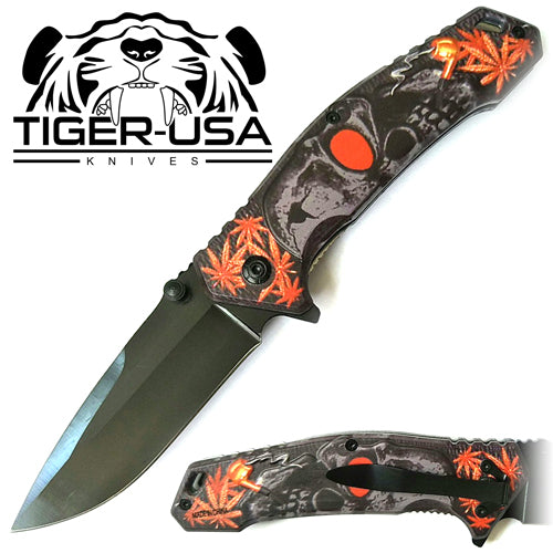 Tiger-USA Spring Assisted Knife - Skull Orange