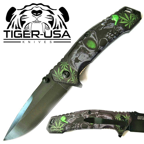 Tiger-USA Spring Assisted Knife - Skull Green