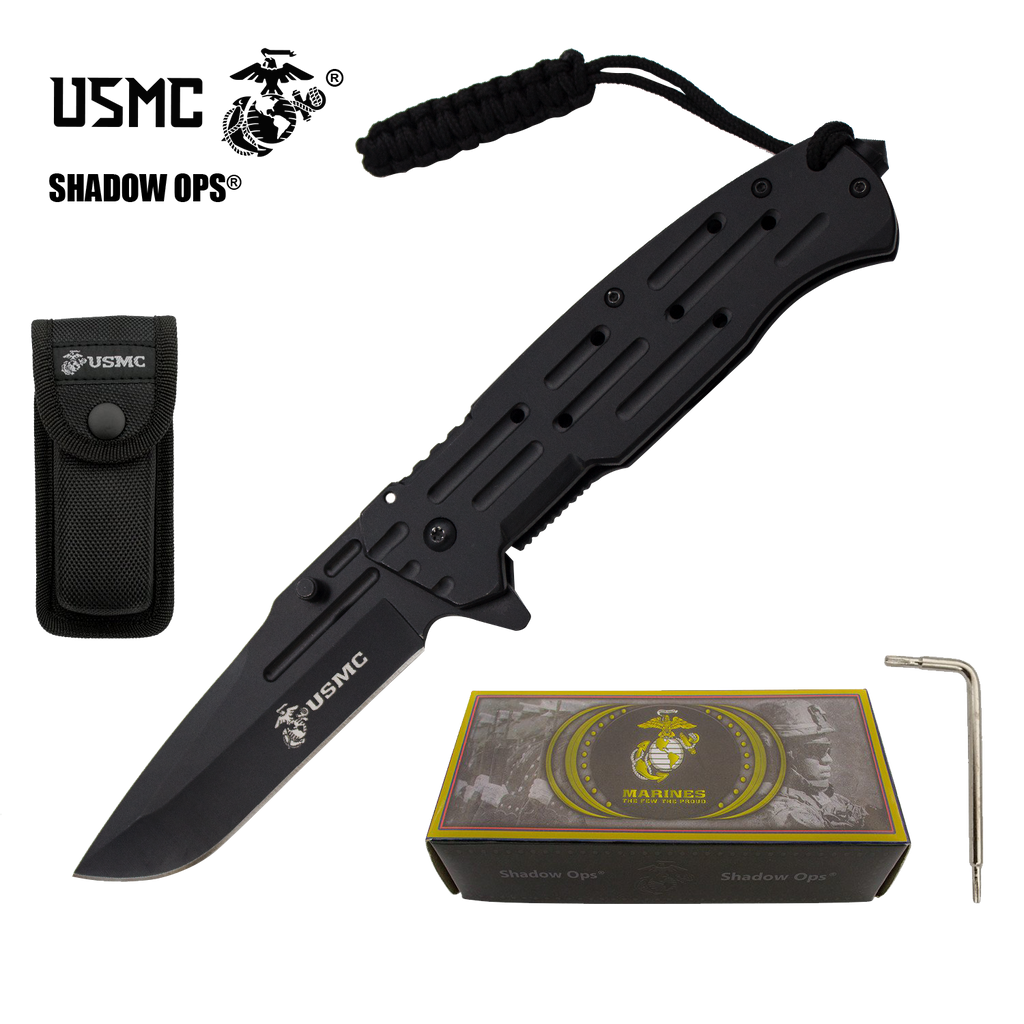 Co'Ops Flip Stealth Edge Marine USMC Officially Licensed Folding Knife by Shadow Ops®, , Panther Trading Company- Panther Wholesale