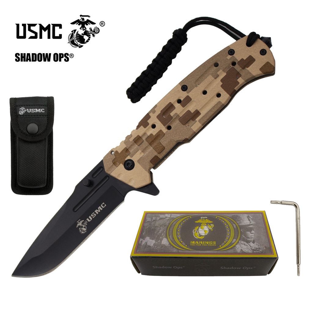 Co'Ops Flip Desert Camo Marine USMC Officially Licensed Folding Knife by Shadow Ops®