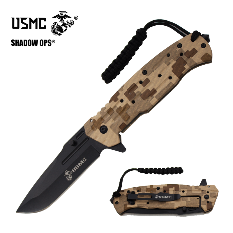 Co'Ops Flip Desert Camo Marine USMC Officially Licensed Folding Knife by Shadow Ops®, , Panther Trading Company- Panther Wholesale
