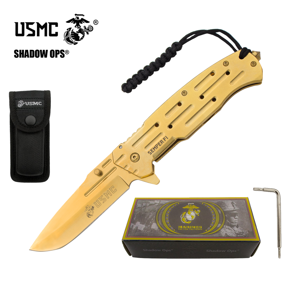 Co'Ops Flip Golden Edge Marine USMC Officially Licensed Folding Knife by Shadow Ops®, , Panther Trading Company- Panther Wholesale