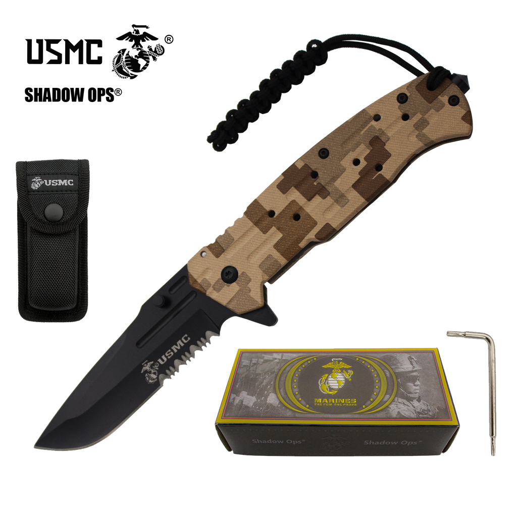 Co'Ops Flip Desert Camo Serrated Marine USMC Officially Licensed Folding Knife by Shadow Ops®