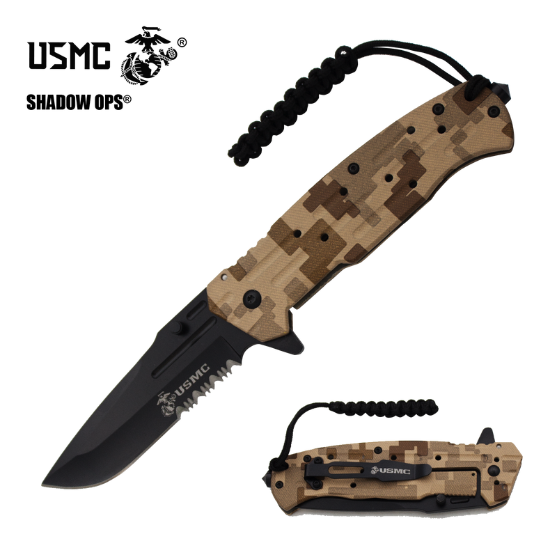 Co'Ops Flip Desert Camo Serrated Marine USMC Officially Licensed Folding Knife by Shadow Ops®, , Panther Trading Company- Panther Wholesale