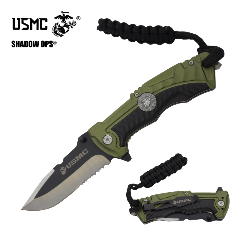 The Marine SOCOM Co'Ops Flip Serrated USMC Officially Licensed Folding Knife by Shadow Ops®, , Panther Trading Company- Panther Wholesale