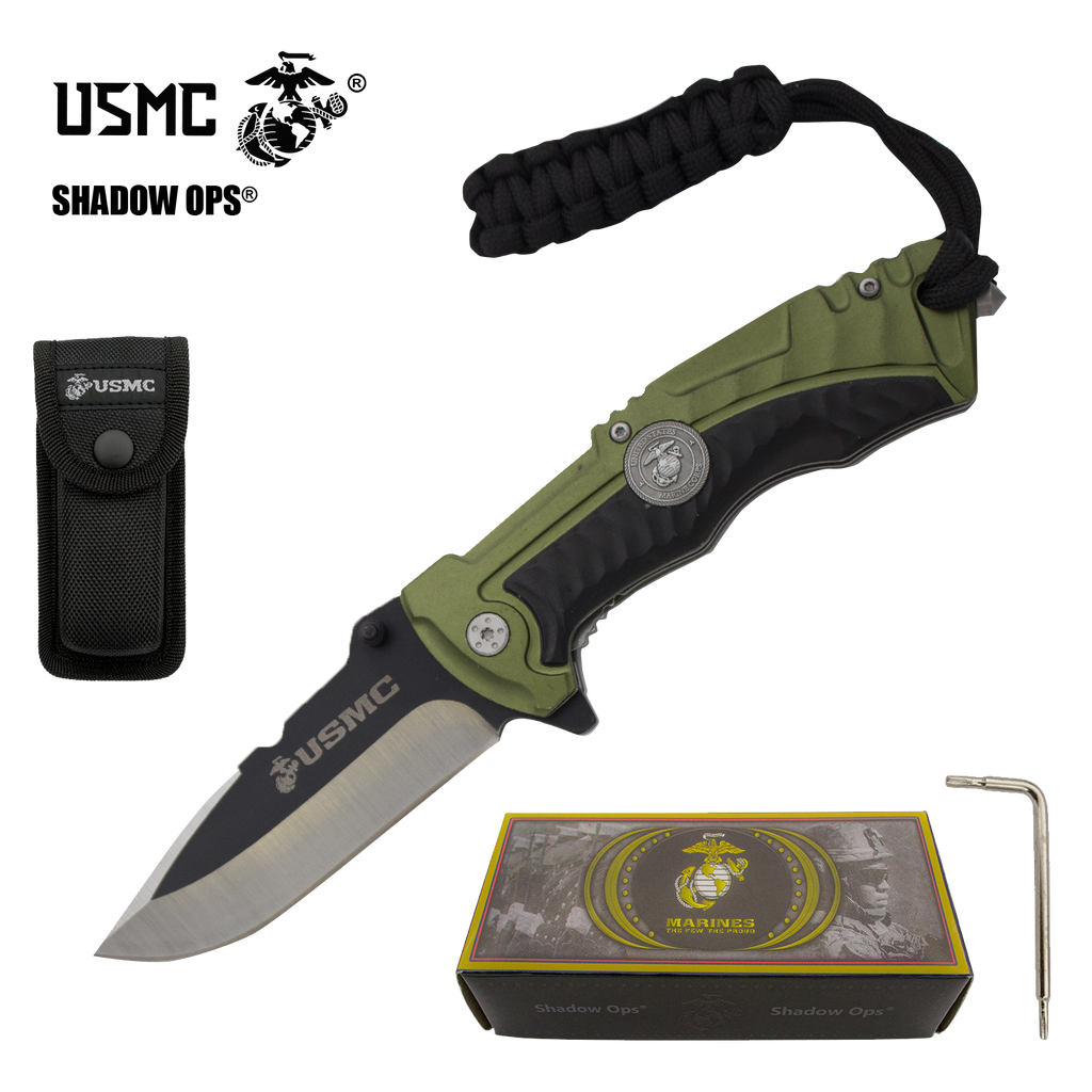 The Marine SOCOM Co'Ops Flip USMC Officially Licensed Folding Knife by Shadow Ops®, , Panther Trading Company- Panther Wholesale