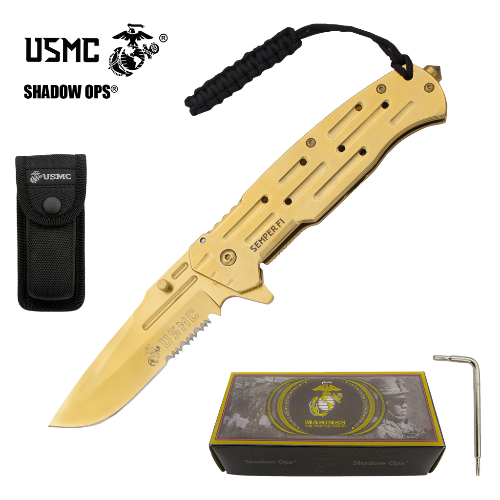 Co'Ops Flip Golden Edge Serrated Marine USMC Officially Licensed Folding Knife by Shadow Ops®, , Panther Trading Company- Panther Wholesale