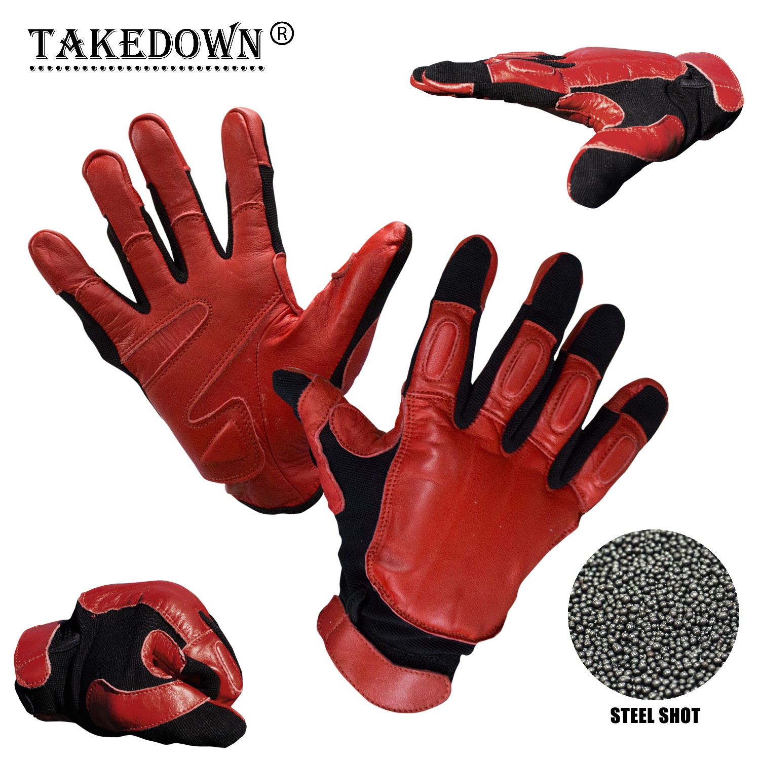 X-Large Law Enforcement Red & Black Real LEATHER Sap GLOVES