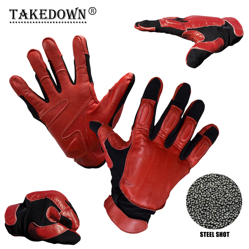 X-Large Law Enforcement Red & Black Real Leather Sap Gloves, , Panther Trading Company- Panther Wholesale