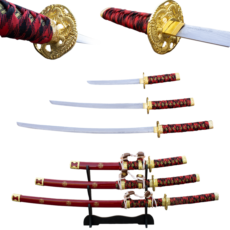 3 PC Red  Gold Rush Katana Sword Set