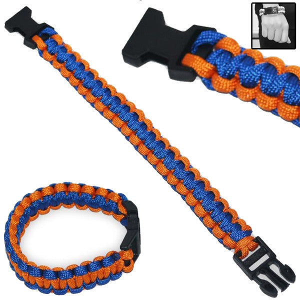 Military Clip-On Survival Bracelet W/ Paracord Strap - Orange, , Panther Trading Company- Panther Wholesale