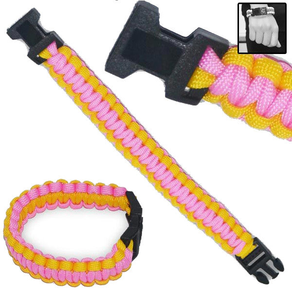 Military Clip-On Survival Bracelet W/ Paracord Strap - Pink, , Panther Trading Company- Panther Wholesale