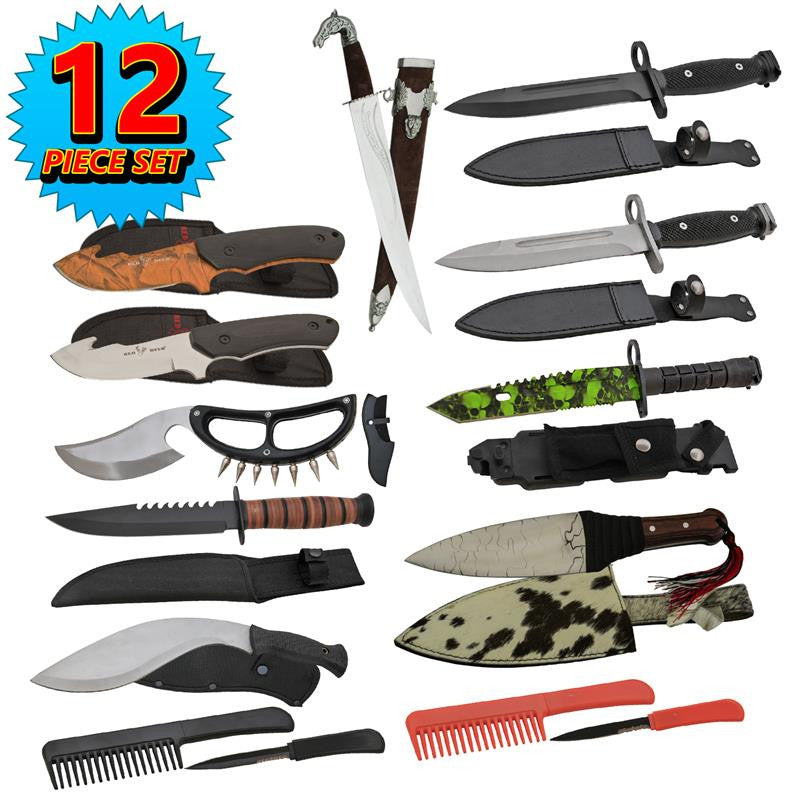 SUPER SET Assorted Daggers/Fixed Blades, , Panther Trading Company- Panther Wholesale