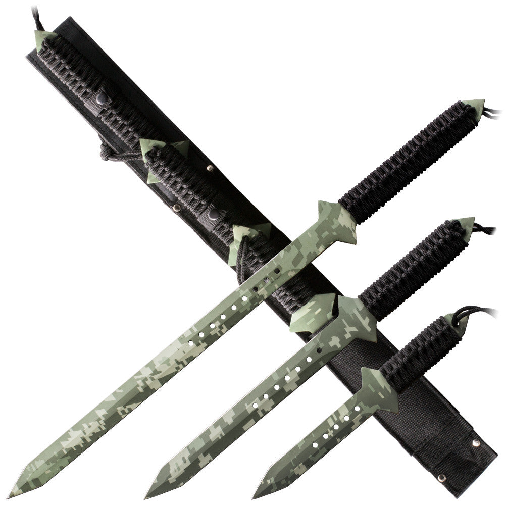 3pcs Camo 1 American NINJA Liquid SWORD Set