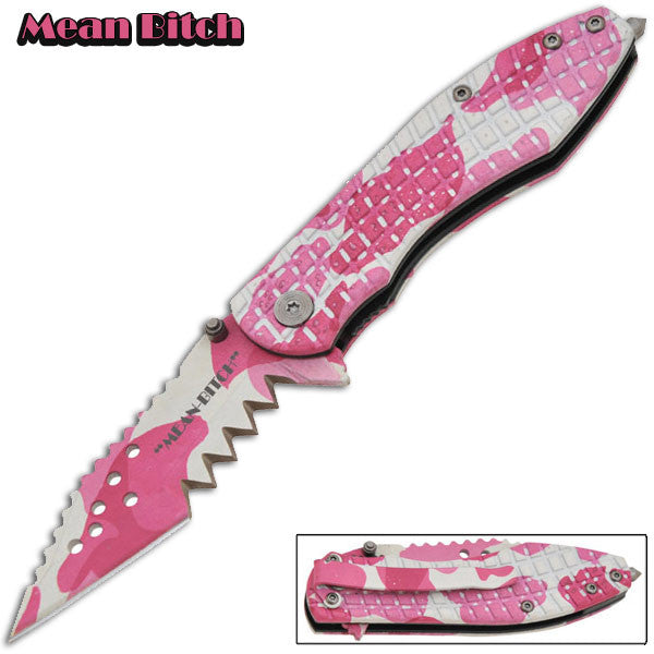 Mean Bitch - Trigger Action Knife - Pink Camo, , Panther Trading Company- Panther Wholesale