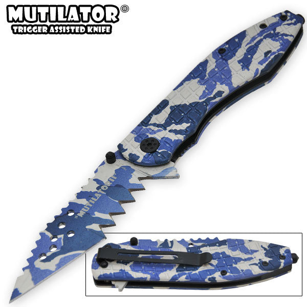 The Mutilator II - Trigger Action Knife - Blue Camo, , Panther Trading Company- Panther Wholesale