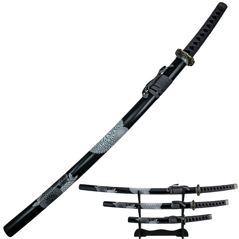 Samurai Flower Scale Katana 3 Piece Sword Set